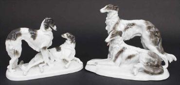 Zwei Tierfigurengruppen 'Barsoi-Paar' / Two animal figure groups 'Barsois', Carl Scheidig,