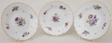 Satz 3 Teller mit Blumendekor / A set of 3 plates with flowers, KPM, Berlin, um 1900Material: