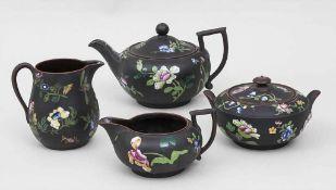 4-tlg. Capriware Basalt Teeservice / Early Capriware Basalt Tea Set, Wedgwood, um 1820bestehend