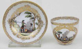 Mokkatasse u. UT mit Soldaten- u. Batailleszenen (Preussen) / Cup And Saucers With Military Scenes