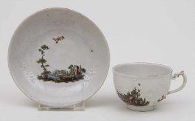 Tasse mit UT mit feiner Landschaftsmalerei / A Cup With Saucer With Landscapes, Ludwigsburg, um