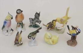 Konvolut 8 Tierfiguren / A collection of 8 animals, deutsch, 20. Jh.Material: Porzellan, polychrom