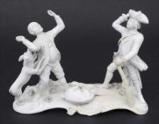 Frühe und seltene Figurengruppe 'Jäger beim Stellen eines Wilderers' / A figural group with a hunter