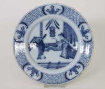 Fayenceteller / A faience plate, Hanau, 18. JhMaterial: Fayence, Chinoiserie unterglasurblau,
