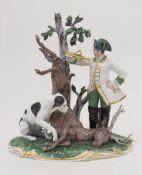 Jagdgruppe / A hunting group, Nymphenburg, um 1900Material: Porzellan, polychrom staffiert, Marke: