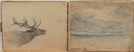 Skizzenbucheines Künstlers um 1900, Skizzen auf über 30 Seiten, 26 x 20 cm