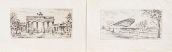 Monogrammist HH(Grafiker des 20. Jh.)Berlin Brandenburger Tor u. Kongresshalle2 Originalradierungen,