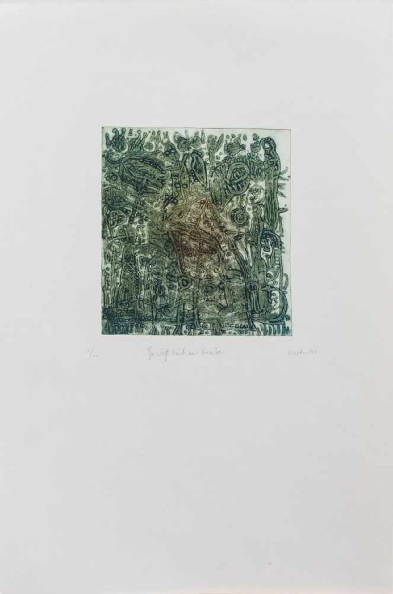 Harry Mohr(Rostock 1951 -, deutscher Maler u. GrafikerGewißheit der ErnteFarbradierung, 21 x 19