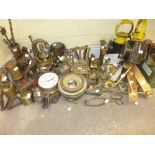 Lot 531 - A quantity of brass ware including a ship compass, brass candlesticks and ornaments, blow torches,