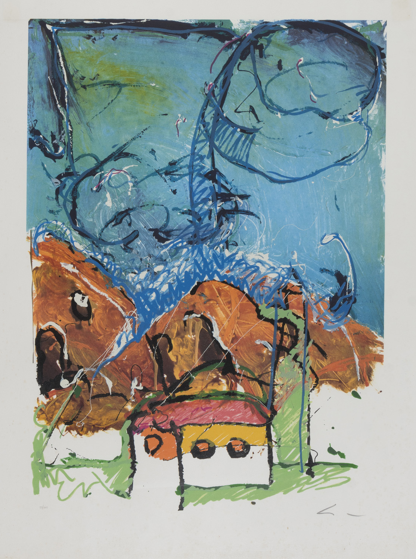 Lot 2 - MARIO SCHIFANO (Homs 1934 - Roma 1998) Paesaggio con casa