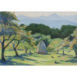 Lot 41 - PITTORE RUSSO DEL NOVECENTO Paesaggio con alberi in fiore Paesaggio con covone e montagne