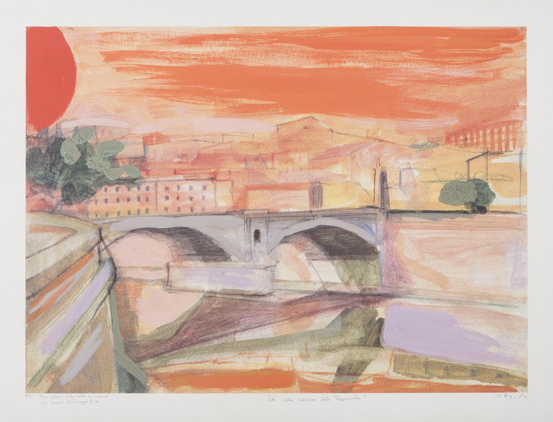 Lot 7 - UGO ATTARDI (Sori 1923 - Roma 2006) Il sole rosso del tramonto
