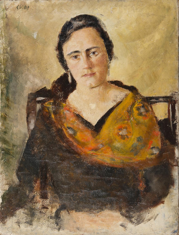 Lot 28 - VIRGILIO GUIDI (Roma 1891 - Venezia 1984) Ritratto di donna con scialle, anni '20 Olio su tela,