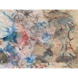 Lot 36 - GUIDO BIASI (Napoli 1933 - Parigi 1983) Senza titolo, 1955 Acquerello e olio su cartoncino, cm. 19 x