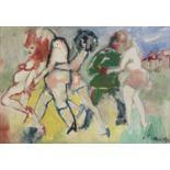 Lot 23 - MINO MACCARI (Siena 1898 - Roma 1989) Personaggi, 1968 Olio su tela grezza, cm. 35,5 x 50,5 Firma in