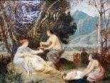 Lot 1050 - Paul Alfred de Curzon (1820-1895), Classical figures in a glade, oil on canvas,