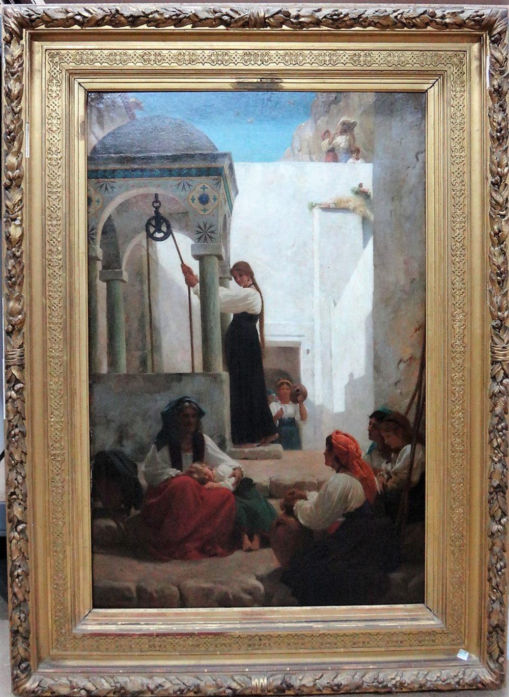 Lot 1049 - Paul Alfred de Curzon (1820-1895), Women at the well: Autour d'un Puits a Amalfi, oil on canvas,