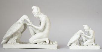 A Copenhagen biscuit porcelain figure group, 19th century,
