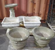Garden statuary, comprising; 20th century and later reconstituted stone,