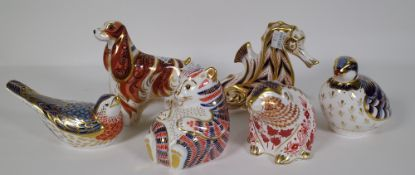 Six Royal Crown Derby Imari paperweights including a partridge, blue bird, seahorse, spaniel,