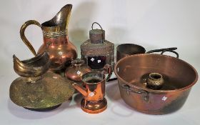 A quantity of mostly 19th century brass and copper wares, including; jugs, pots,