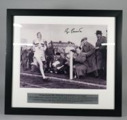 CRICKET / RUGBY / ATHLETICS: a group of three framed and signed collectables; includes DICKIE BIRD,