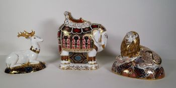 Three Royal Crown Derby Imari paperweights, including a lion, a stag and an elephant, (3).