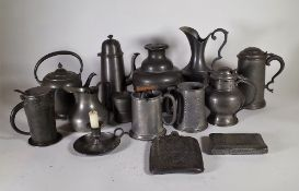 Pewter wares, including; 19th century and later jugs, tankards and sundry, (qty).