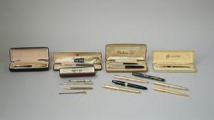 A quantity of pens, including; a 'Parker 51' set, a Sheaffer fountain pen,
