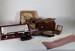 Collectables, including; gloves costume jewellery, bead work bags and AA badge, (qty).