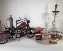 A 20th century model of a motorbike, 67cm long, a similar model of a double decker bus,