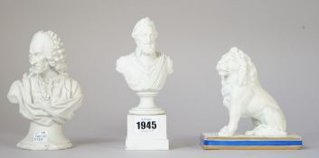 A French biscuit porcelain bust, 19th century, depicting 'Voltaire', 16cm high,