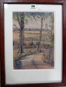 M** Seeck (20th century), a wooded lane, watercolour, signed and dated 1934, 32cm x 23cm.