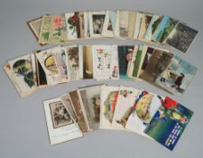 POSTCARDS: Sentimental, Greetings, Humour and a few Topographical, a collection of approx. 110.