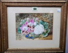 E. Walter, (exh. 1855-1891), Floral still lives, a pair, watercolour, both signed, each 17cm x 22cm.