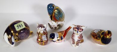 Six Royal Crown Derby Imari paperweights including a badger, cat, kingfisher, partridge,