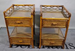 A pair of bamboo and rattan two tier bedside tables, 70cm high x 42cm wide.