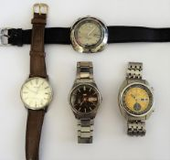 A Seiko Bell-Matic steel cased gentleman's wristwatch, fitted to a strap,