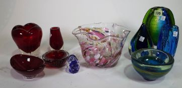 Studio glass, to include 20th century vases and bowls, (10).