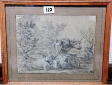 A group of five, including a charcoal drawing of cattle in the manner of Albert Cuyp,