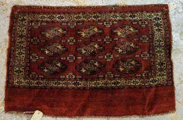A Turkeman bag, 77cm x 115cm.