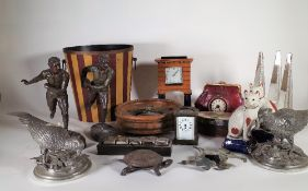 A group of 20th century decorative items including spelter figures, clocks,