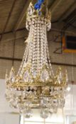A 20th century gilt metal and glass bag chandelier, 39cm wide x 70cm high.