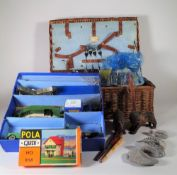 Collectables including rocks, fossils, train set, marbles, a hamper and sundry.