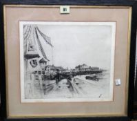 David Young Cameron (1865-1945), Dutch Canal scene, etching, signed, 25cm x 30cm.