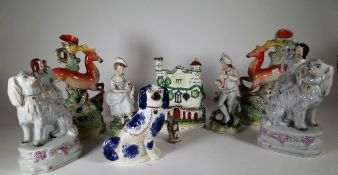 Ceramics, comprising; 19th century and later Staffordshire flatback figure groups and spill vases,