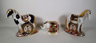 Three Royal Crown Derby Imari paperweights, including two horses and one elephant, (3).