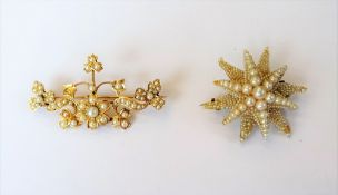 A gold and seed pearl brooch, in a trefoil, floral and scrolling design, gross weight 7.