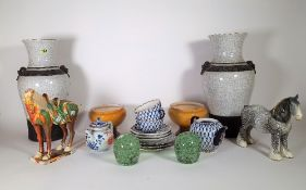 Ceramics, including a pair of 20th century Asian craquelure vases, a Tang style horse,