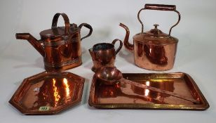 Copperwares including; kettles, trays and jugs, (qty).